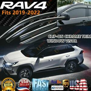 For Toyota Rav4 2019 2021 Chrome Trim Window Visor Vent Rain Sun Rain Deflectors