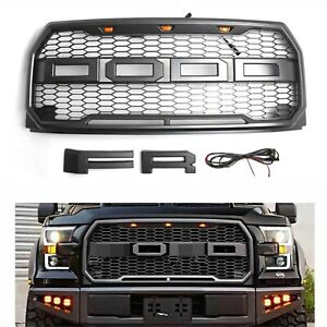 Grey 2015 2016 2017 Ford F150 Raptor Style Front Replacement Grille Bumper Grill