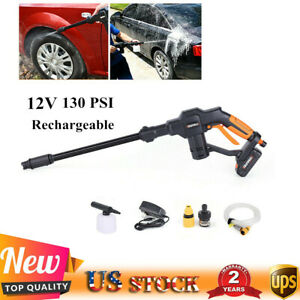 12v Rechargeable Car Pressure Washer Cleaner Auto Washing Gun Machine 130 Psi