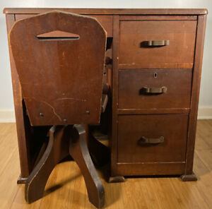 Vintage Child S Writing Desk Secretary With Secret Compartment With Chair