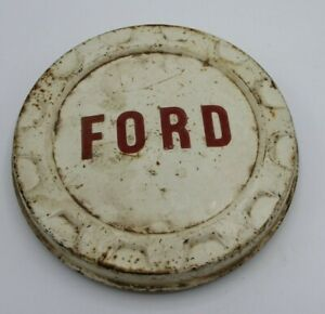 Vintage Ford Truck Pickup Dog Dish Bottle Cap Hubcap White Red u 2
