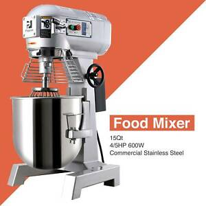 3 Speed Commercial Dough Food Mixer 600w 4 5p 15qt Stainless Steel Pizza Bakery