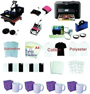15 x15 8in1 Pro Sublimation Heat Press Epson Wf 2860 Printer Ciss Material Kit