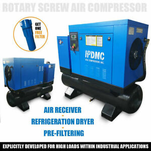 Hpdmc 460v Rotary Screw Air Compressor With 80 Gallon Air Tank Air Dryer