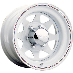 15x10 Pacer 310w White Spoke Steel Wheels Rims 44 5x5 50 Qty 4