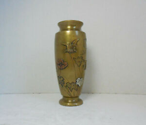 Antique Japanese Bronze Brass Copper Silver Mixed Metal Meiji Period Vase