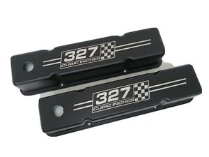 Small Block Chevy Tall Valve Covers Black 327 Cubic Inches Checkered Flags