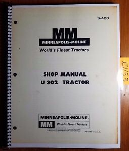 Minneapolis moline U 302 U302 U 302 Tractor Shop Service Manual S 420