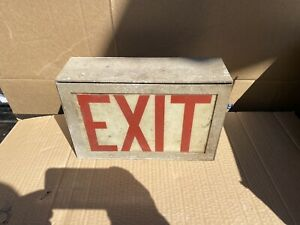 1 Vintage 1940 s Exit Movie Theater Lighted Glass Wall Mount Gas Oil Sign works