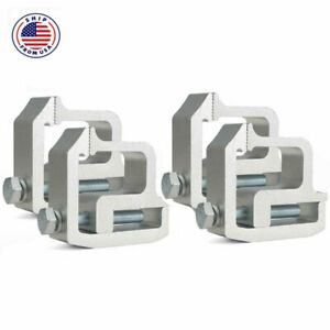 4pcs Truck Cap Topper Camper Shell Mounting Clamps Heavy Duty Aluminum Silver