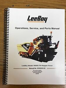 Oem Leeboy 1000g Tilt Hopper Paver Operation Service Parts Manual Book