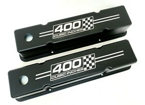 Small Block Chevy Tall Valve Covers Black 400 Cubic Inches Checkered Flags