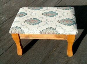 Vintage Maple Foot Stool Ottoman Floral Tapestry