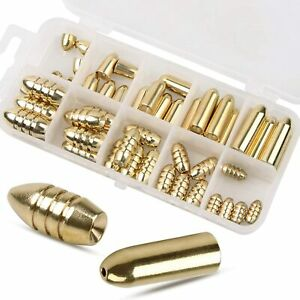 Fishing Sinkers Weights Kit Copper Brass Bullet Worm Sinker Bass Casting Weights $21.99