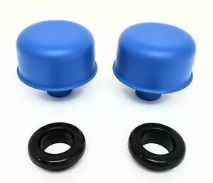 Blue Powder Coated Valve Cover Breathers With Grommets Chevy Ford Mopar