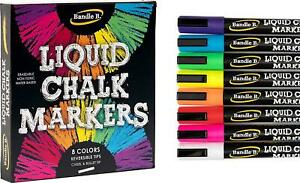 Liquid Chalk Markers 8 Vibrant Colors Erasable Non toxic Water based For