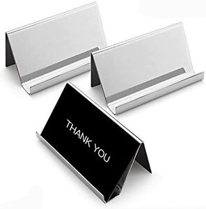 Sooez Business Card Holders Stand For Desk 3 Pack Office Stainless Steel Card