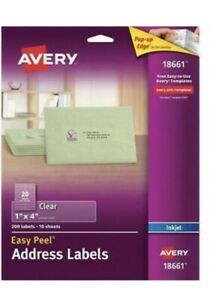 Avery Clear Easy Peel Mailing Labels Inkjet 1 X 4 200 pack 18661