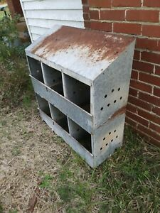 Vintage Chicken Hen Nest Box Rusty Industrial Galvanized Metal Barn Farm Fresh 6