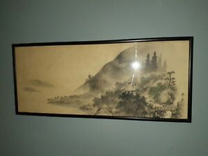 Japanese Painting Hanging Scroll Japan Landscape Ink Vintage Old Original