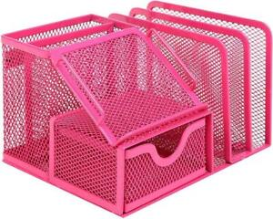 Pink Metal Mesh Office Supply Mail Storage Rack W Sticky Note Memo Pad Holder