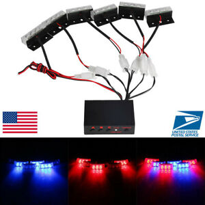 Blue Red 18 Led Emergency Warning 3 Flashing Lights Car Auto Police Strobe Grill