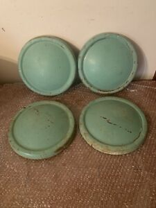 A Set Of 4 Green 1947 1948 1949 1950 Studebaker Champion Hubcaps Need Restored
