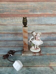 Vintage Marble Alibaster Lamp With Ceramic Figure Of Boy And Girl 30cm Tall