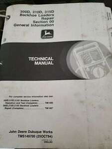 John Deere 300d 310d 315d Backhoe Loader Technical Service Repair Manual Tm1497