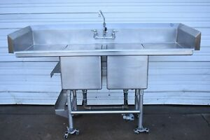 70 Stainless Steel 2 Compartment Sink With Dual Drain Boards