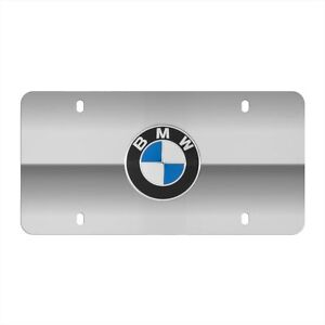 Bmw Polished Silver Marque Vanity License Plate With Centered Logo Genuine Oem