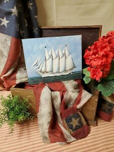 Primitive Colonial Style Sailing Ship July 4 Patriotic America Print Canvas Sign
