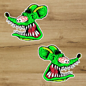 Pre Order Oct Rat Fink Hot Rod 3 Inch Two Pack Premium Decal Sticker Car Window