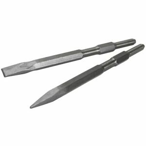2 Pieces Point And Flat Chisel Bit For 5 8 Hex Chisel Demolition Jack Hammer