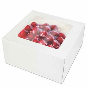 25 Pack Pie cake Box With Window 8x8x4 White Cardboard Bakery Packaging Fo