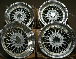16 Silver Rs Alloy Wheels Fits Vw Caddy Corrado Citygolf Golf Jetta Up 4x100 Gs