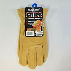 Wells Lamont Grips Cowhide Leather Precurved Work Gloves Size Medium