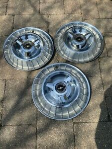 Three 1961 1962 1963 Ford Thunderbird Oem Deluxe Spinner Hub Caps