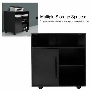 Mobile Printer Stand Storage Home Office Cabinet Wooden Cabinet With Door