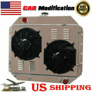 4 Row Radiator shroud Fan Fit 1966 1979 Ford F series bronco Truck Chevy Engine