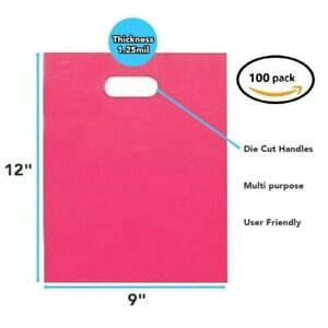 100 Pack 9 X 12 X 1 25 Mil Thick Pink Merchandise Plastic Shopping Bags