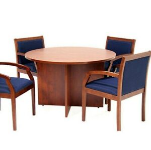 Round Conference Table Chairs Set Office Meeting Room Cherry Mahogany Ash Gray