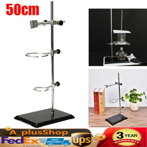 50cm Laboratory Stand Iron Chemistry Lab Flask Support Clamp Clip 2 Frame Rings