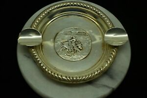 925 Sterling Silver Round Ash Tray W Rodeo Bull Rider Design S4 013