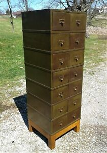 Antique Macey Army Green 14 Metal Drawers File Cabinet W Oak Base 1930s