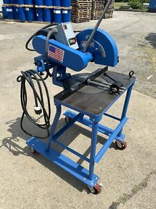 14 Target Metal Chop Saw Model Tdm53 With Miter On Roller Stand