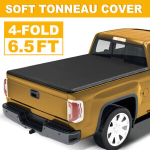 Tonneau Cover For 07 21 Toyota Tundra 4 fold 6 5 Ft Soft Bed Truck Adjustable