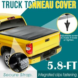 Tonneau Cover 4 Fold 5 8 Ft Soft Bed Truck For 07 18 Chevy Silverado 1500 Gmc