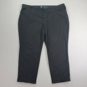 Lee All Day Chino Trousers Pants Womens Size 24W Petite Solid Black Stretch $24.49
