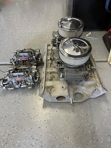 Ford Fe Dual Quad Set Up W Carbs Linkage Fuel Bar Air Cleaners Edelbrock Holley